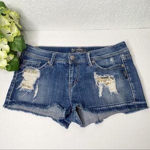 Silver Jeans Courtney Distressed Shorts raw hem 32